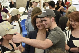 One of our national finalists meets Armenia's first lady at our Creative English camp